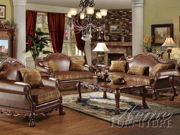 Traditional Living Room Leather Furniture Sets And Fabric Home most certainly throughout Traditional Fabric Sofas (Image 16 of 20)