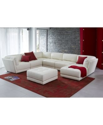 Traverso Leather 6 Piece Chaise Modular Sectional Sofa Furniture effectively within 6 Piece Leather Sectional Sofa (Image 19 of 20)