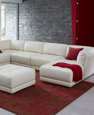 Traverso Leather 6 Piece Chaise Modular Sectional Sofa Furniture well intended for 6 Piece Leather Sectional Sofa (Image 20 of 20)