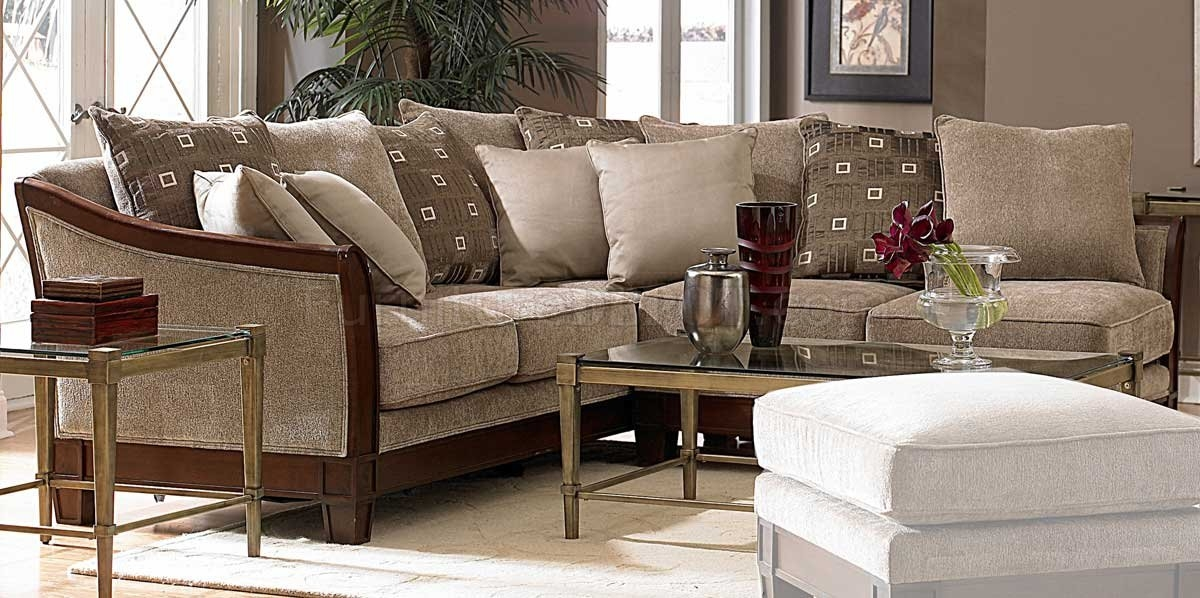 Trenton Sectional Sofa Homelegance Tan Chenille Fabric certainly throughout Chenille And Leather Sectional Sofa (Image 18 of 20)