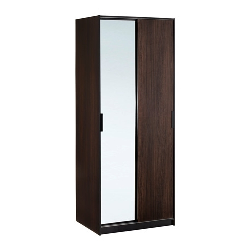 Trysil Wardrobe Dark Brownmirror Glass 79x61x202 Cm Ikea certainly for Dark Wood Wardrobes Ikea (Image 13 of 30)