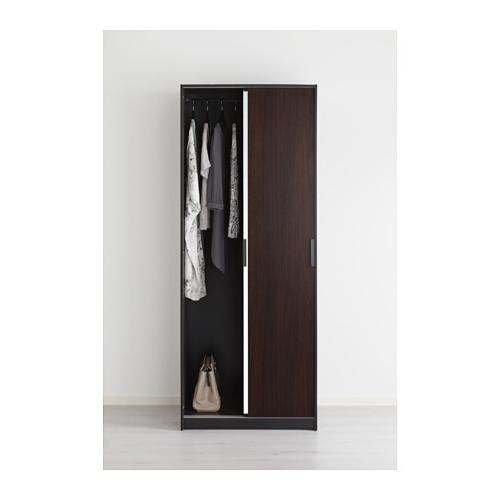 Trysil Wardrobe Dark Brownmirror Glass 79x61x202 Cm Ikea very well within Dark Wood Wardrobes Ikea (Image 9 of 30)