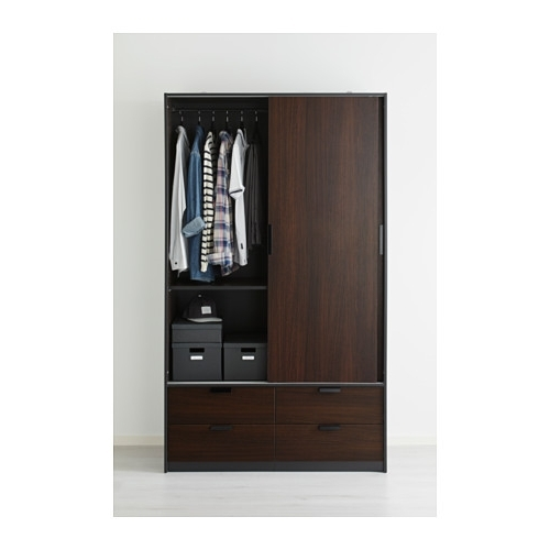 Trysil Wardrobe W Sliding Doors4 Drawers Ikea properly intended for Wardrobe With Shelves and Drawers (Image 12 of 30)