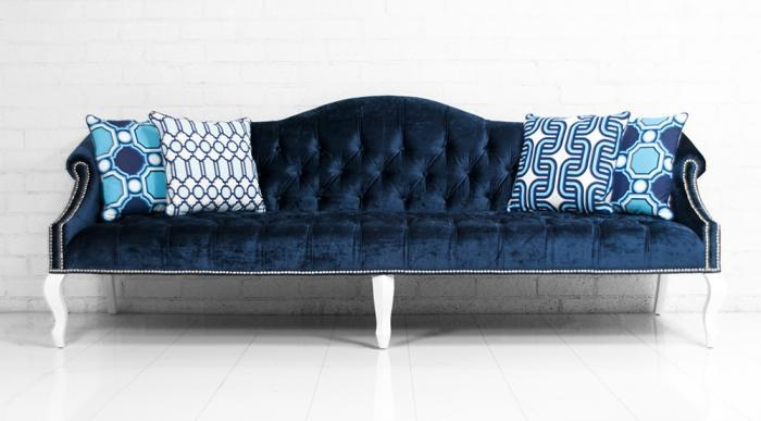 Tufted Velvet Sofa Lucas Navy Tufted Velvet Sofa W Nailhead Trim well with regard to Blue Tufted Sofas (Image 20 of 20)