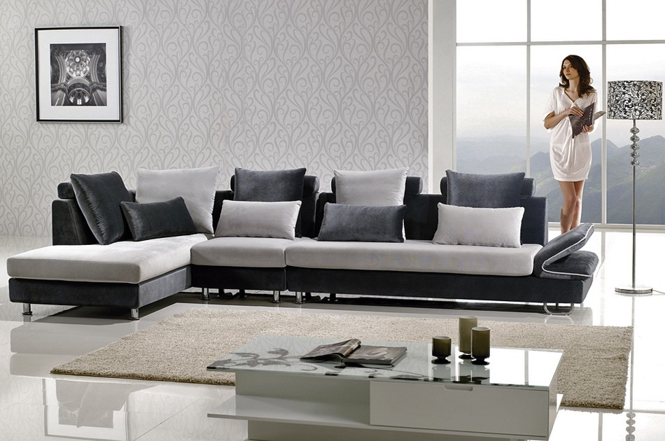 Two Tone Microfiber Sectional Sofa very well throughout Two Tone Sofas (Image 20 of 20)