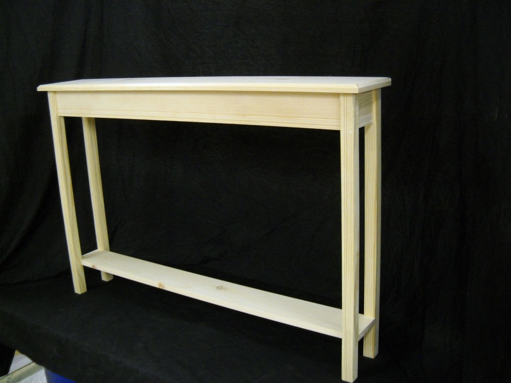 Unfinished 46 Narrow Console Sofa Foyer Beveled Edge Pine Table well with Narrow Sofa Tables (Image 18 of 20)