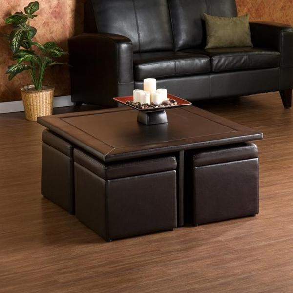 Upholstered Storage Ottoman Coffee Table nicely intended for Brown Leather Ottoman Coffee Tables With Storages (Image 20 of 20)