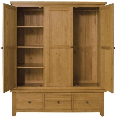 Vancouver Oak Triple Wardrobe definitely intended for Oak Wardrobe With Drawers and Shelves (Image 14 of 30)