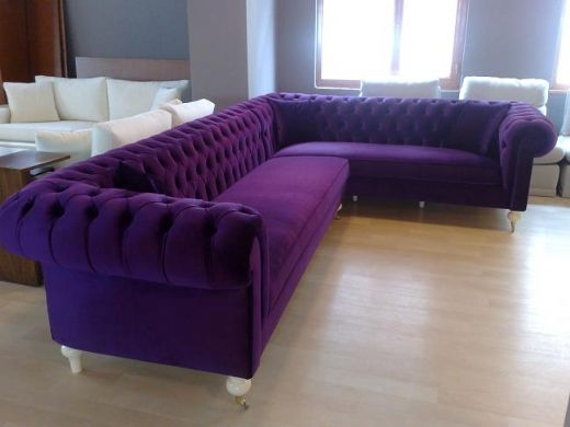 Velvet Chesterfield Sofa Living Room Sofa Living Room Sofas Modern effectively throughout Velvet Purple Sofas (Image 17 of 20)