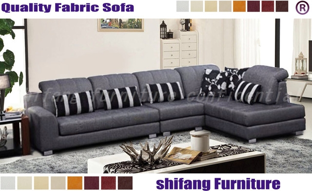 Velvet Fabric L Shape Sofa 13chaise With Fuctional Headrest properly in L Shaped Fabric Sofas (Image 20 of 20)