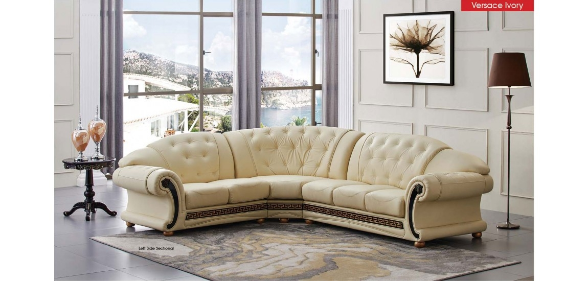 Versace Classic Sectional Sofa In Ivory Italian Leather perfectly with regard to Classic Sectional Sofas (Image 20 of 20)