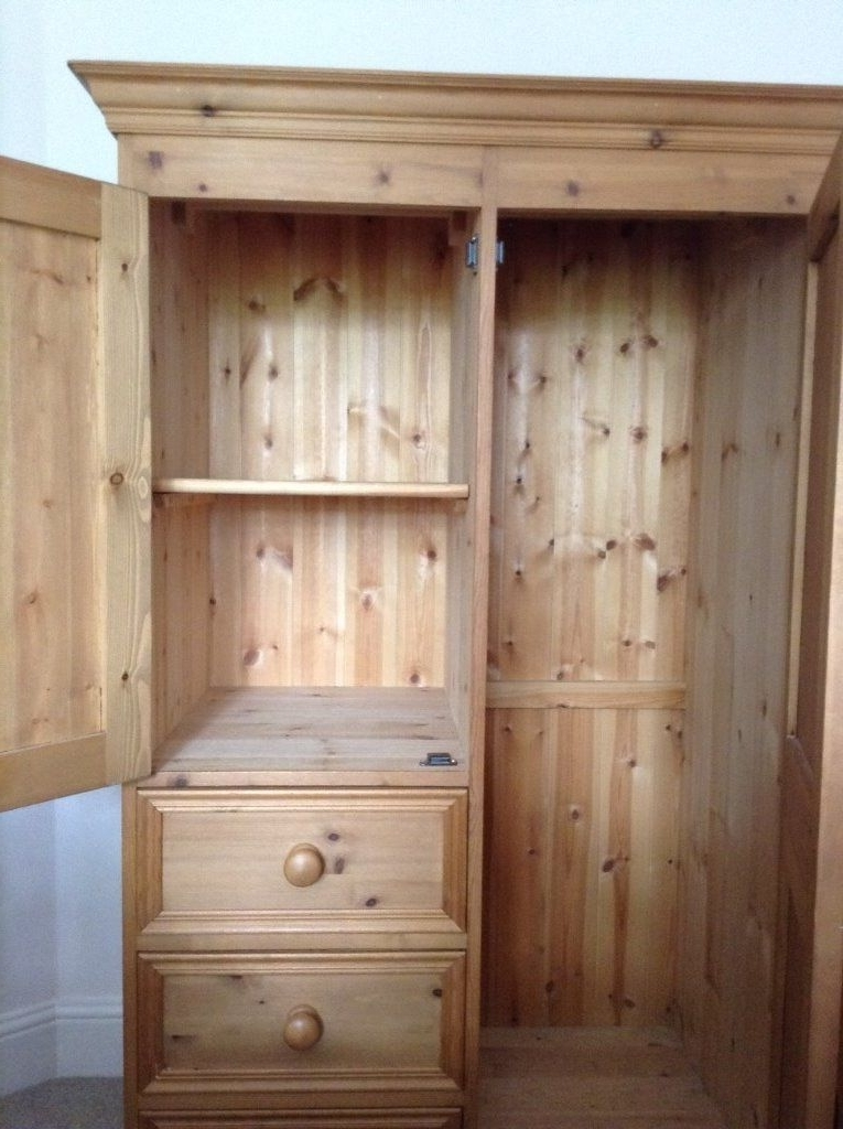 Versatile Childs Pine Wardrobe In Excellent Condition Hanging most certainly pertaining to Pine Wardrobe With Drawers And Shelves (Image 9 of 30)