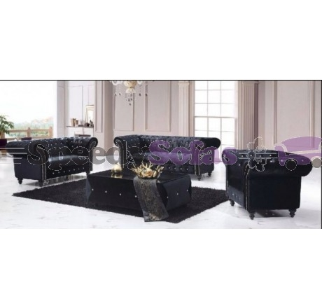 Victoria 311 Chesterfield Boutique Crush Black Velvet Sofa well intended for Black Velvet Sofas (Image 18 of 20)