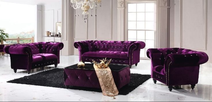 Victoria Chesterfield Boutique Crush Velvet 3 2 Purple Sofa certainly inside Velvet Purple Sofas (Image 20 of 20)