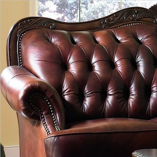 Victoria Classic Button Tufted Leather Sofa Set nicely pertaining to Victorian Leather Sofas (Image 10 of 20)