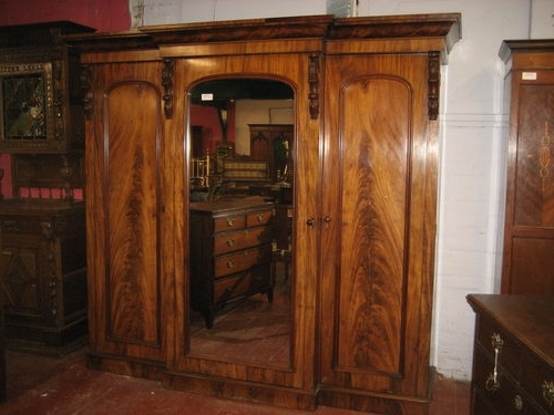 Victorian Mahogany Breakfront Triple Wardrobe Antiques Atlas clearly throughout Breakfront Wardrobe (Image 25 of 30)