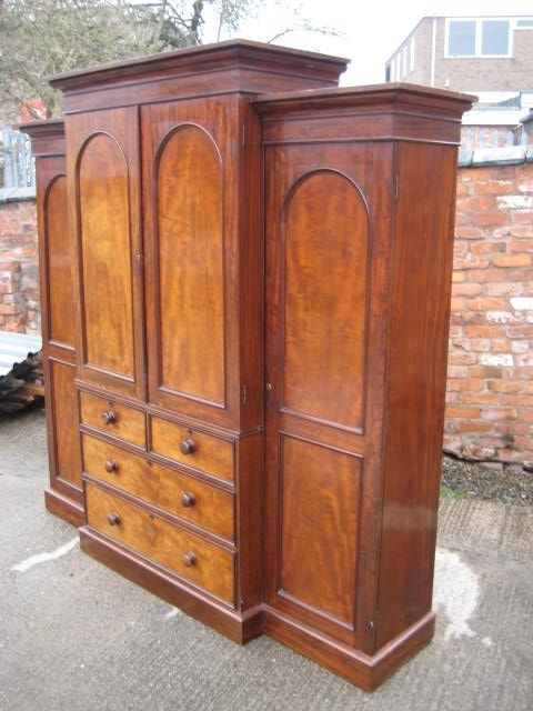 Victorian Mahogany Breakfront Wardrobe 224317 Sellingantiques certainly for Breakfront Wardrobe (Image 17 of 30)