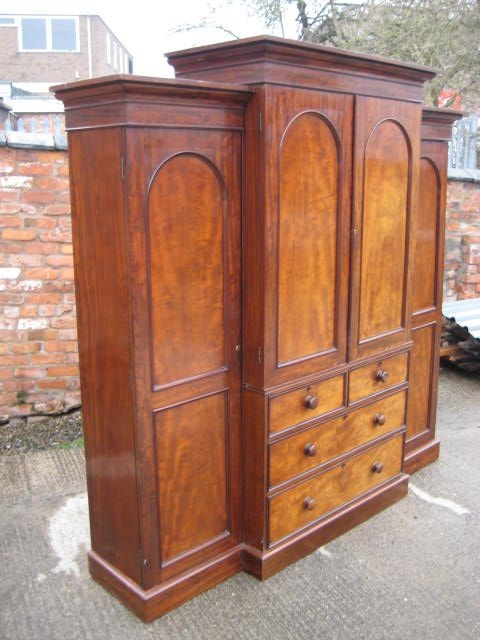 Victorian Mahogany Breakfront Wardrobe 224317 Sellingantiques clearly intended for Antique Breakfront Wardrobe (Image 11 of 30)