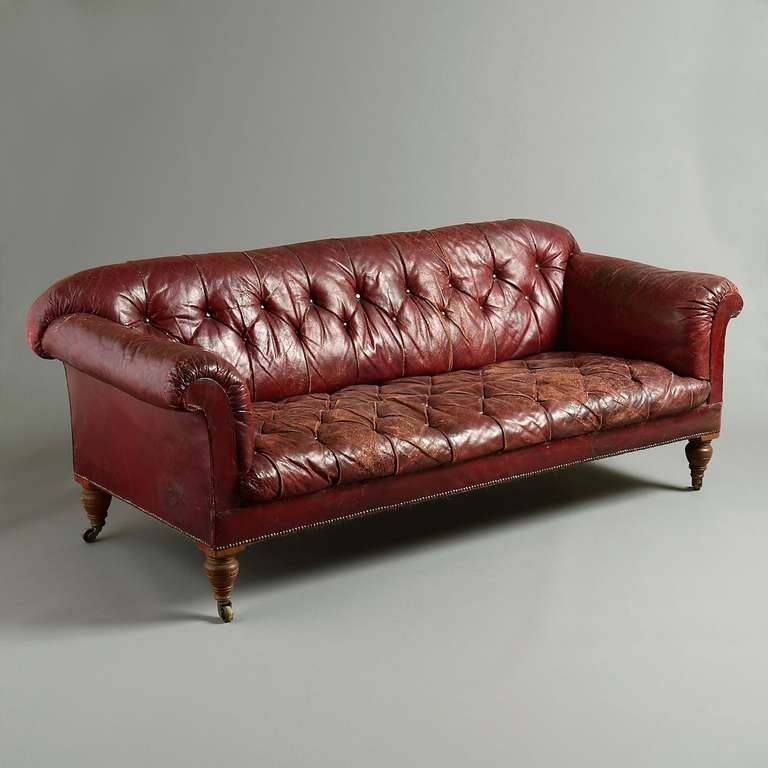 Victorian Red Leather Sofa At 1stdibs nicely with Victorian Leather Sofas (Image 18 of 20)