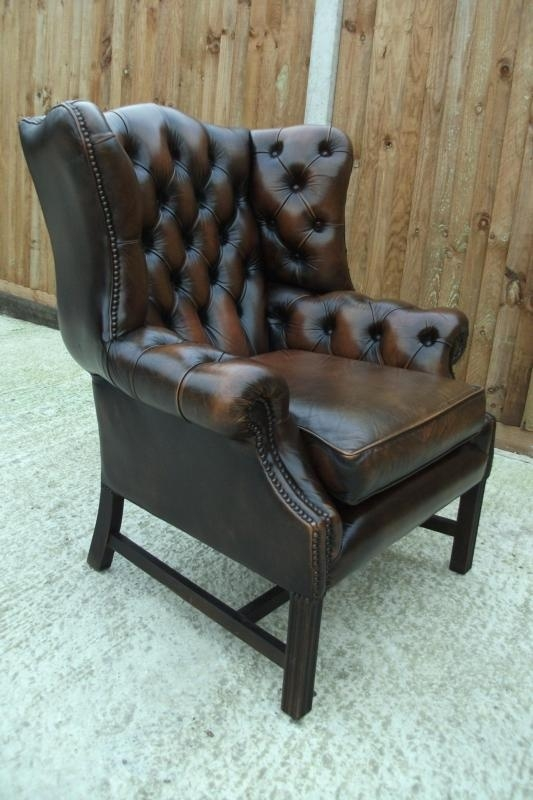 Vintage Chesterfield Wing Chair In Antique Brown Leather Delivery definitely regarding Chesterfield Recliners (Image 20 of 20)