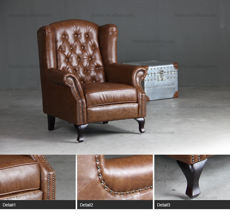 Vintage Leather High Back Sofa Chairhigh Back Chair For Hotel very well throughout High Back Sofas and Chairs (Image 20 of 20)