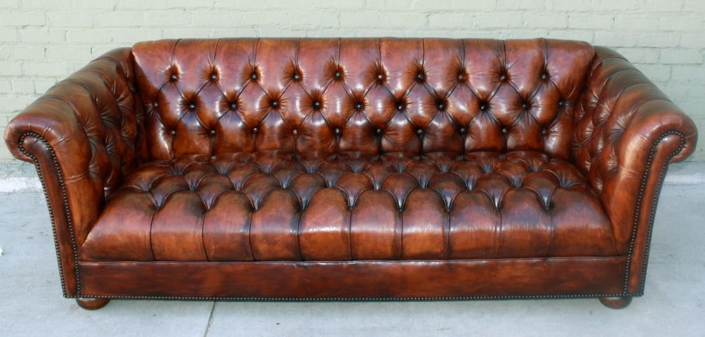 Vintage Leather Tufted Chesterfield Style Sofa C 1930s At 1stdibs Well Regarding 1930s Couch (View 4 of 20)