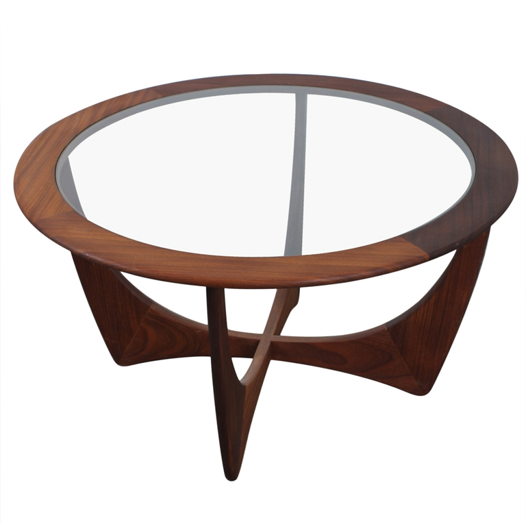 Vintage Retro Mid Century Modern Round Coffee Table Glass Top 42 very well intended for Round Glass and Wood Coffee Tables (Image 19 of 20)
