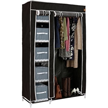 Vonhaus Double Canvas Effect Wardrobe Clothes Cupboard Hanging certainly within Double Canvas Wardrobe Rail Clothes Storage Cupboard (Image 18 of 20)