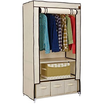 Vonhaus Double Canvas Effect Wardrobe Clothes Cupboard Hanging very well in Double Canvas Wardrobe Rail Clothes Storage Cupboard (Image 14 of 20)