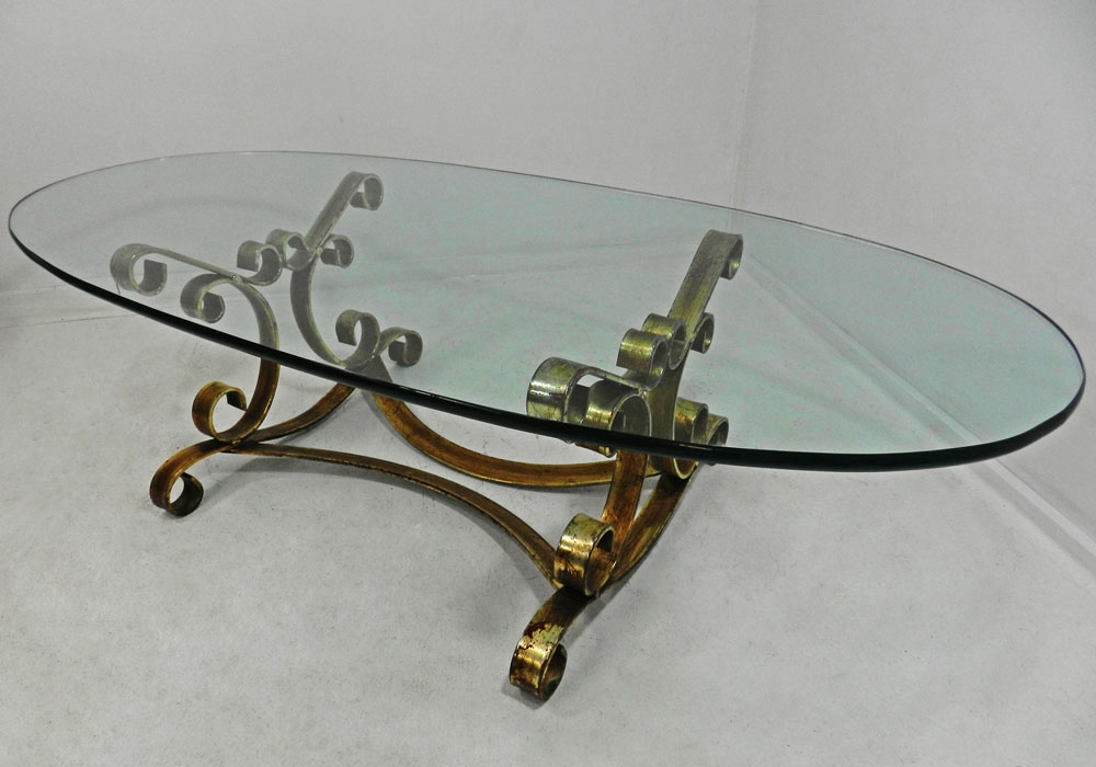 Vtg Hollywood Regency Rustic Gilt Iron Oval Glass Coffee Cocktail properly  intended for Vintage Glass Top