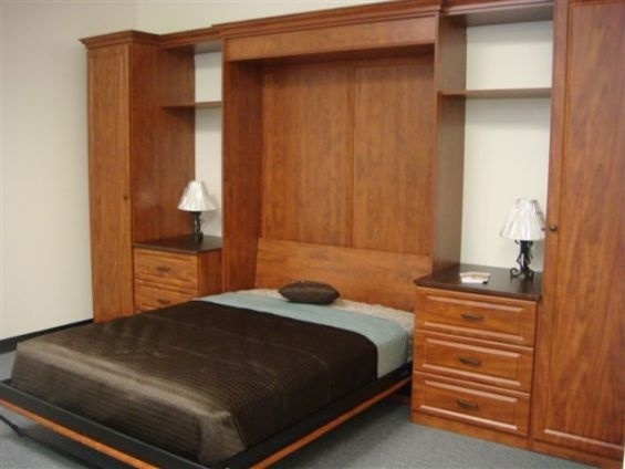 Wall Bed In A Cognac Finish With Full Length Wardrobes well for Wall Wardrobes (Image 10 of 20)