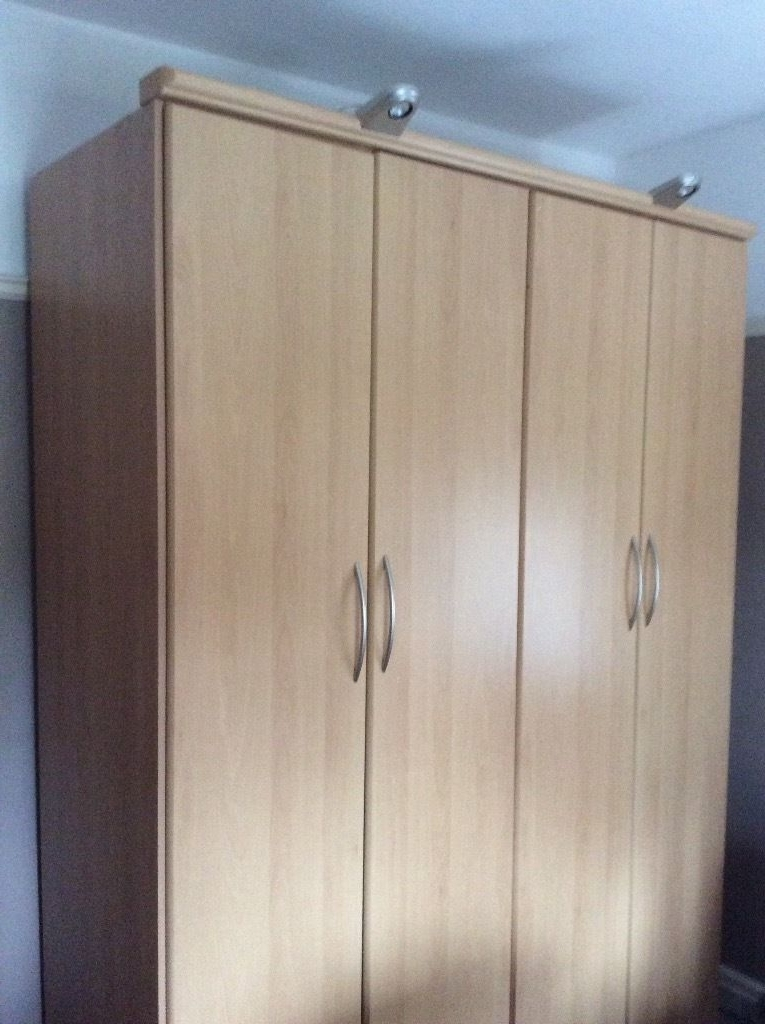 Wardrobe Large Double With Clothes Rails 2 Shelves In Light Oak perfectly pertaining to Large Double Rail Wardrobes (Image 18 of 30)
