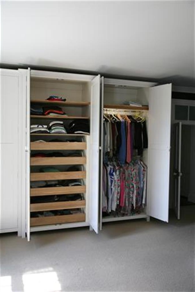 Wardrobes effectively in Double Rail Oak Wardrobes (Image 17 of 30)