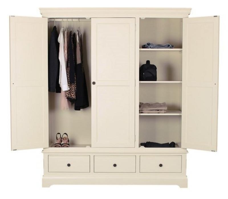 Wardrobes With Shelves Uk Farmhouse Oak 3 Door Triple Wardrobe effectively with Wardrobes With Shelves (Image 18 of 20)