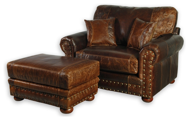 Western Style Leather Sofa Chair Southwestern Armchairs And perfectly with Sofa Chair And Ottoman (Image 20 of 20)
