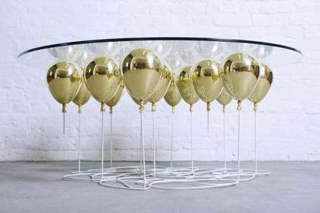 Whimsical Balloon Table Suspends Glass On Floating Orbs well inside Floating Glass Coffee Tables (Image 18 of 20)