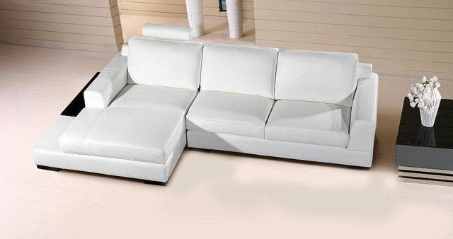 White Leather Compact Sectional Sofa With Chaise Modern Living definitely inside Compact Sectional Sofas (Image 20 of 20)