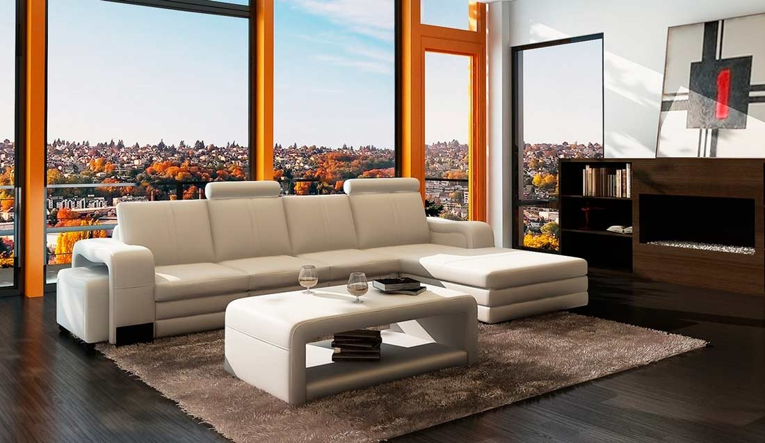 White Leather Sectional Sofa With Coffee Table And Ottoman Vg131 Properly With Coffee Table For Sectional Sofa (View 20 of 20)