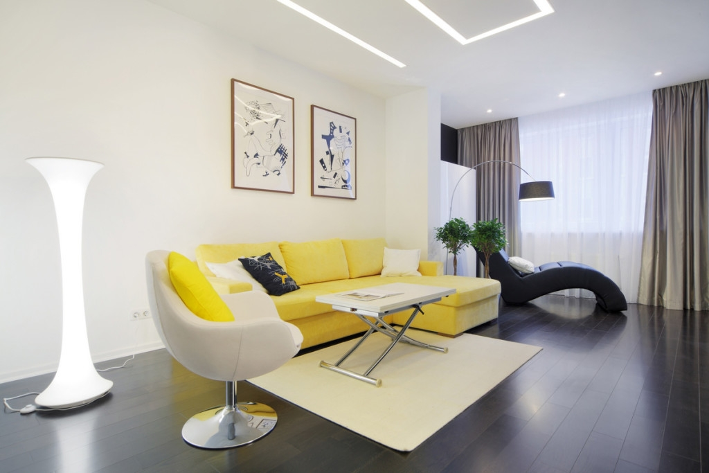 White Living Room Interior Design With Yellow Sofa Furniture And certainly inside Yellow Sofa Chairs (Image 16 of 20)