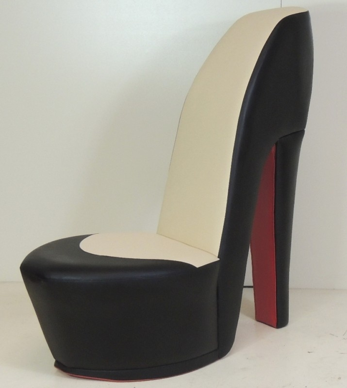 White Stiletto Shoe High Heel Chair Tiger Animal Print most certainly throughout Heel Chair Sofas (Image 20 of 20)