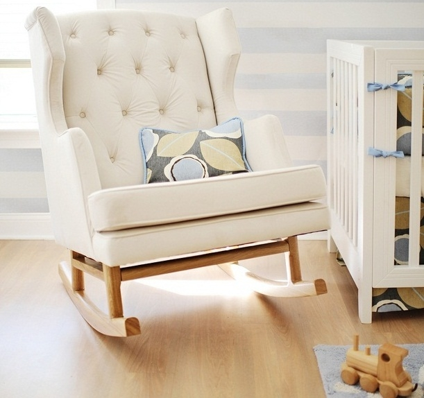 White Wooden Rocking Chair For Nursery Uk Thenurseries certainly intended for Rocking Sofa Chairs (Image 20 of 20)