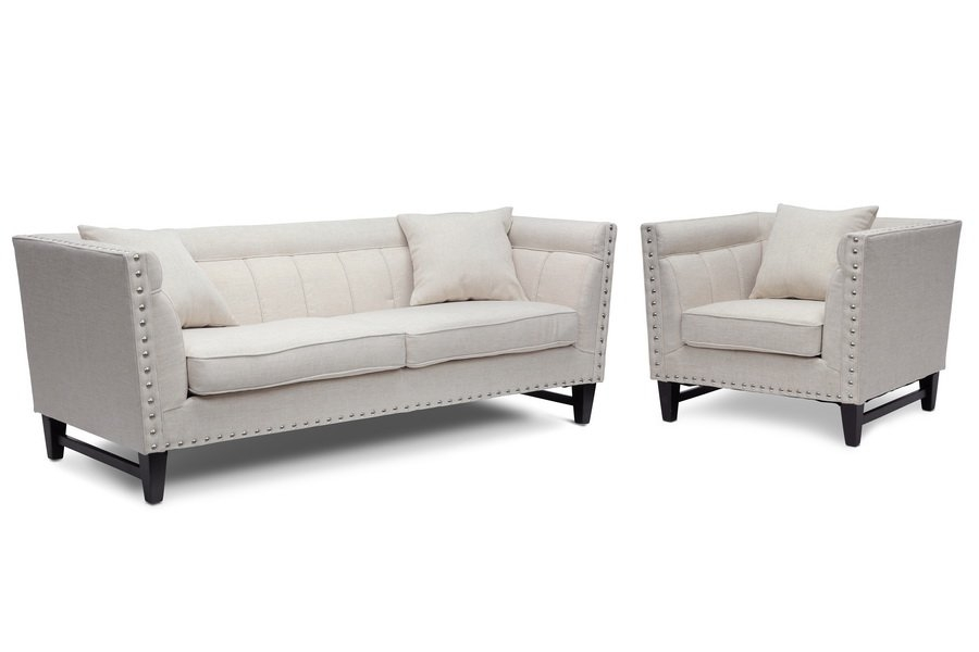 Wholesale Interiors Baxton Studio Stapleton Modern Sofa And Chair most certainly throughout Sofa And Chair Set (Image 20 of 20)