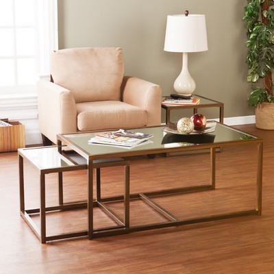 Willa Arlo Interiors Josephson Coffee Table With Nested Stools very well within Coffee Tables With Nesting Stools (Image 20 of 20)
