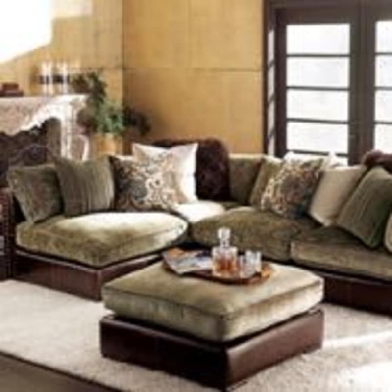 Wilshire Aberdeen Chenille Leather Sofa For Sale In Los Angeles perfectly inside Chenille And Leather Sectional Sofa (Image 19 of 20)