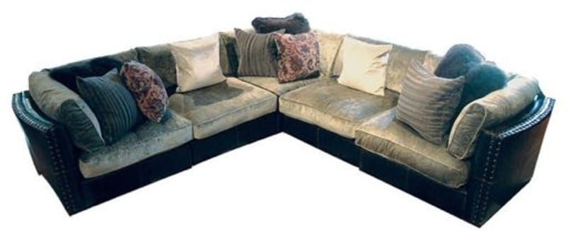 Wilshire Aberdeen Chenille Leather Sofa For Sale In Los Angeles Well Inside  Chenille And Leather Sectional