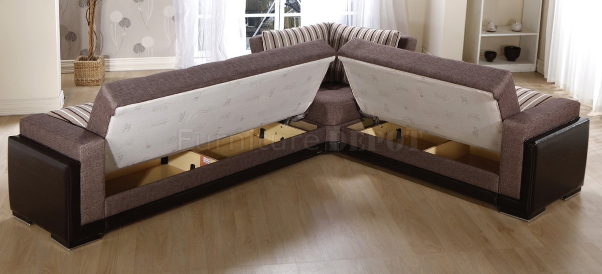 Wonderful Leather Sofa Bed Sectional Family With 3 Recliners Cup Very Well Throughout Sectional Sofa Beds (View 20 of 20)