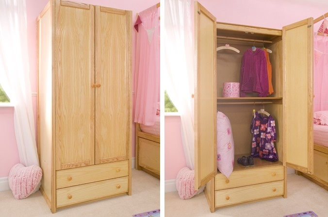 Wooden Double Combi Wardrobe Cbc clearly regarding Childrens Double Rail Wardrobes (Image 2 of 20)