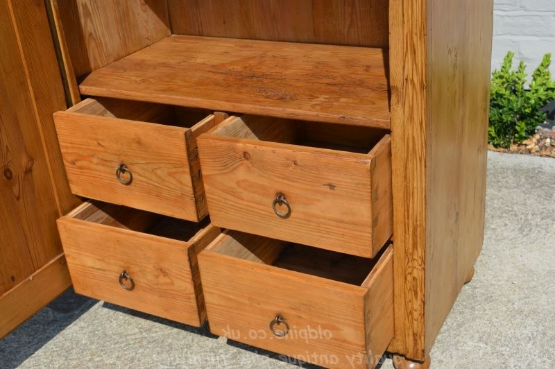 Wwwoldpinecouk Suppliers Of All Types Of Old Antique Hand good in Pine Wardrobe With Drawers And Shelves (Image 20 of 30)