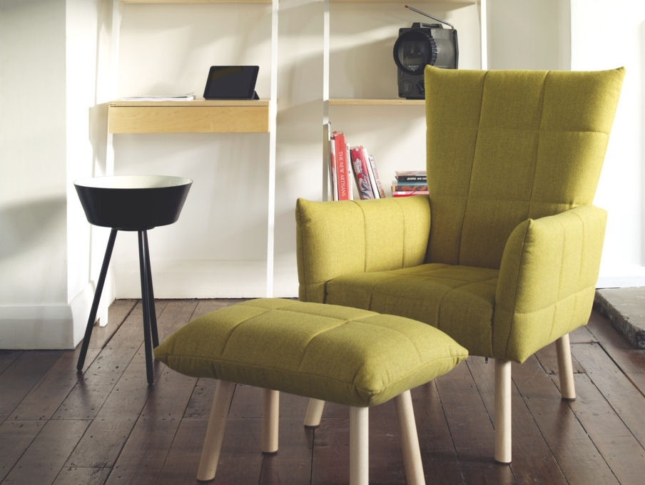 Yellow Marni Small Armchair And Footstool From Habitat Furniture Definitely Inside Compact Armchairs (Photo 3 of 20)