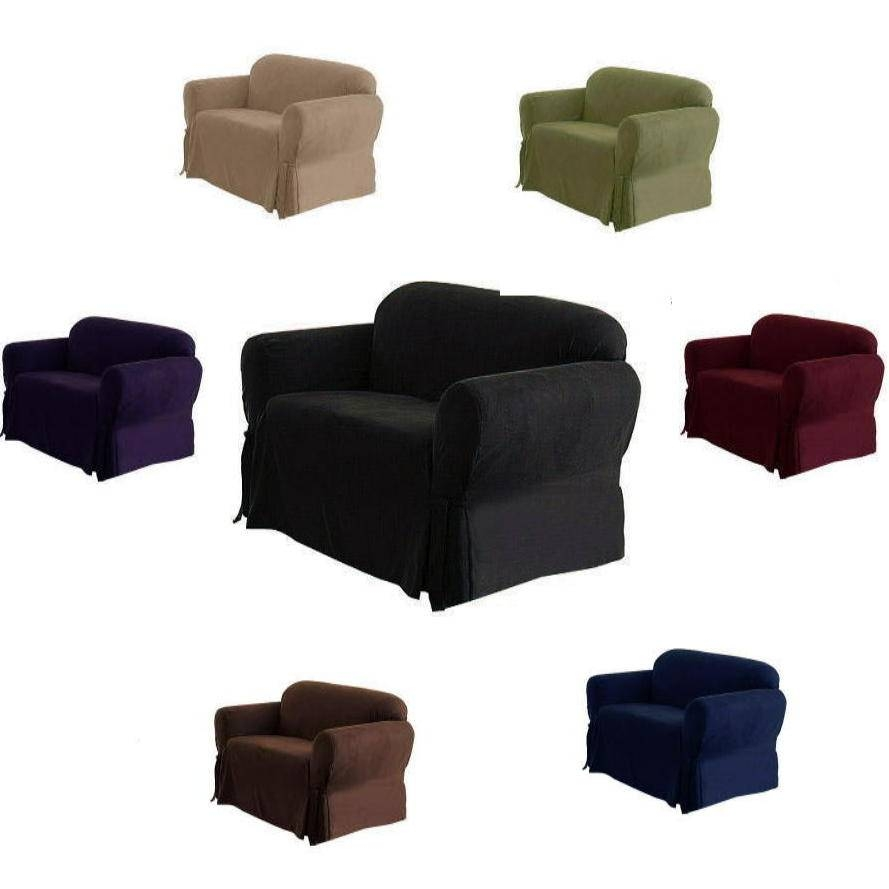 1 Piece Luxury Micro Suede Sofa Loveseat Arm Chair Slip Cover within Black Slipcovers for Sofas (Image 1 of 30)